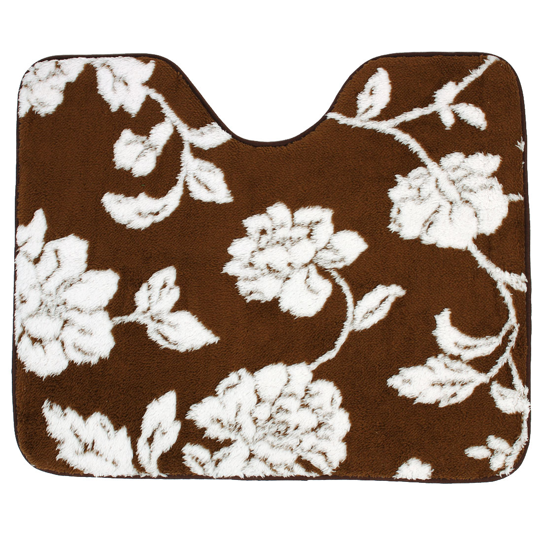 Bathroom U Shaped Flower Pattern Bath Carpet Contour Rug Mats 62cm x 51cm