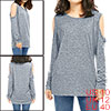 Lady Open Shoulder Long Sleeves Zipper Sides Space...