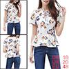 Women Floral Prints Lace Up V Neck Short Sleeves P...