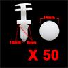 50Pcs 8mm Hole 14mm Head Dia Plastic Rivets Fasten...