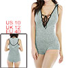 Woman Lace Up Front V Neck Sleeveless Slim Fit Hoo...