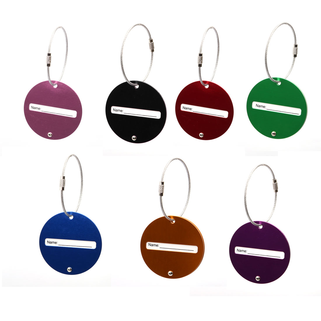 Travel Luggage Tag Metal Suitcase Baggage Address ID Label Assorted Color 7pcs