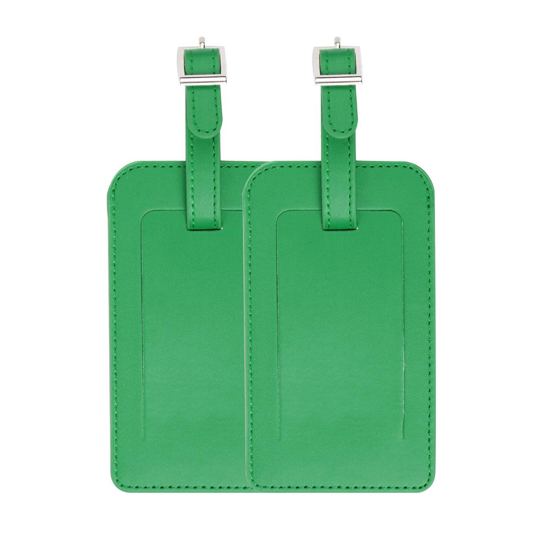 2pcs Travel Luggage Tag PU Leather Baggage Bag Name Address ID Label Green
