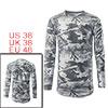 Men Camouflage Pattern Distressed Round Hem Long S...