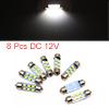 8pcs White LED Car Bulb 36mm Festoon 6 1210 SMD Do...