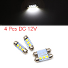 4pcs White LED Car Bulb 36mm Festoon 3 5050 SMD Do...