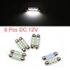 8pcs White LED Car Bulb 39mm Festoon 3 5050 SMD Do...