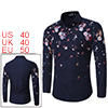 Men Point-collar Floral Pattern Slim Fit Button Up...