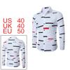 Men Color Block Allover Stripes Pattern Shirt Whit...