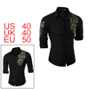 Men Chest Floral Pattern Long Sleeves Slim Fitting...