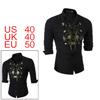 Men Button Up Floral Prints Long Sleeved Shirt Bla...