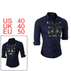 Men Button Up Floral Prints Long Sleeved Shirt Blu...