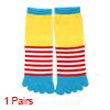Women Seamless Color Block Stripes Prints Toe Sock...