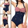 Women Retro One-Piece Swimsuit US 8 Red Striped Bo...