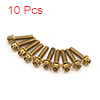 10 Pcs Gold Tone Motorcycle Stainless Steel Hexago...