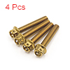 4 Pcs Gold Tone Motorcycle Stainless Steel Hexagon...