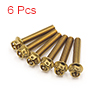 6 Pcs Gold Tone Motorcycle Stainless Steel Hexagon...