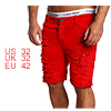 Men Ripped Destroyed Zipper Fly Denim Shorts With ...