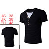 Men Layered V Neck Buttons Decor Short Sleeves T-s...