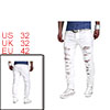 Men Ripped Destroyed Straight Fit Zipper Fly Denim...