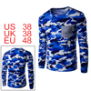 Men Camouflage Pattern Chest Pocket Crew Neck Long...