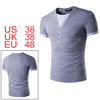 Men V Neck Layered Buttons Decor Short Sleeves T-s...
