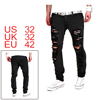 Men Washed Destroyed Ripped Straight Fit Zipper Fl...