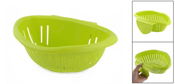 Kitchenware Plastic Basin Hanging Fruit Holder Water Strainer Basket Green
