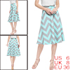 Ladies Chevron Prints Zippered Flared Midi Skirt B...