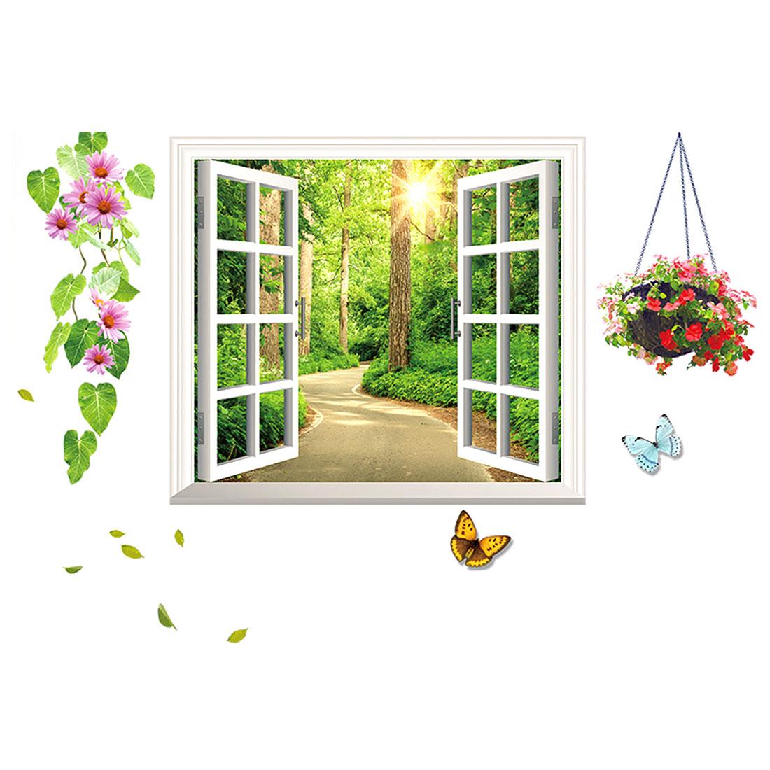 Room PVC Window Pattern DIY Self-adhesive Wall Decoration Sticker Multicolor