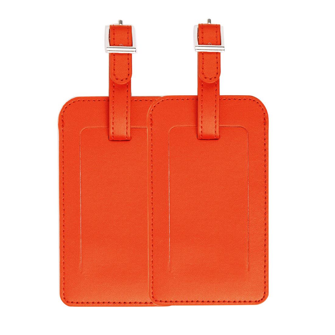 Travel PU Leather Luggage Suitcase Name Address Message Tag ID Label Orange 2pcs