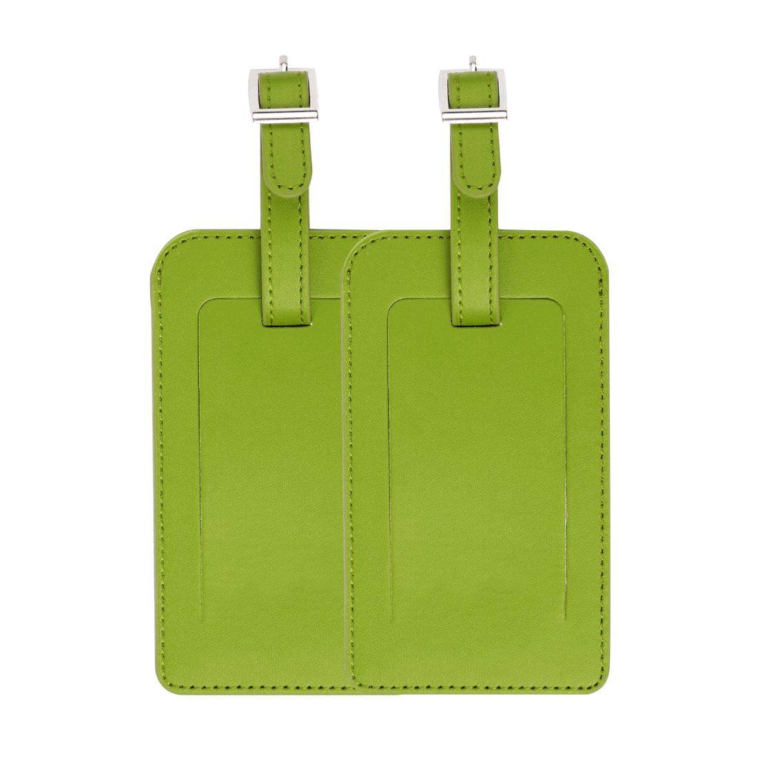 PU Leather Luggage Suitcase Name Address Message Tags ID Label Lemon Green 2pcs