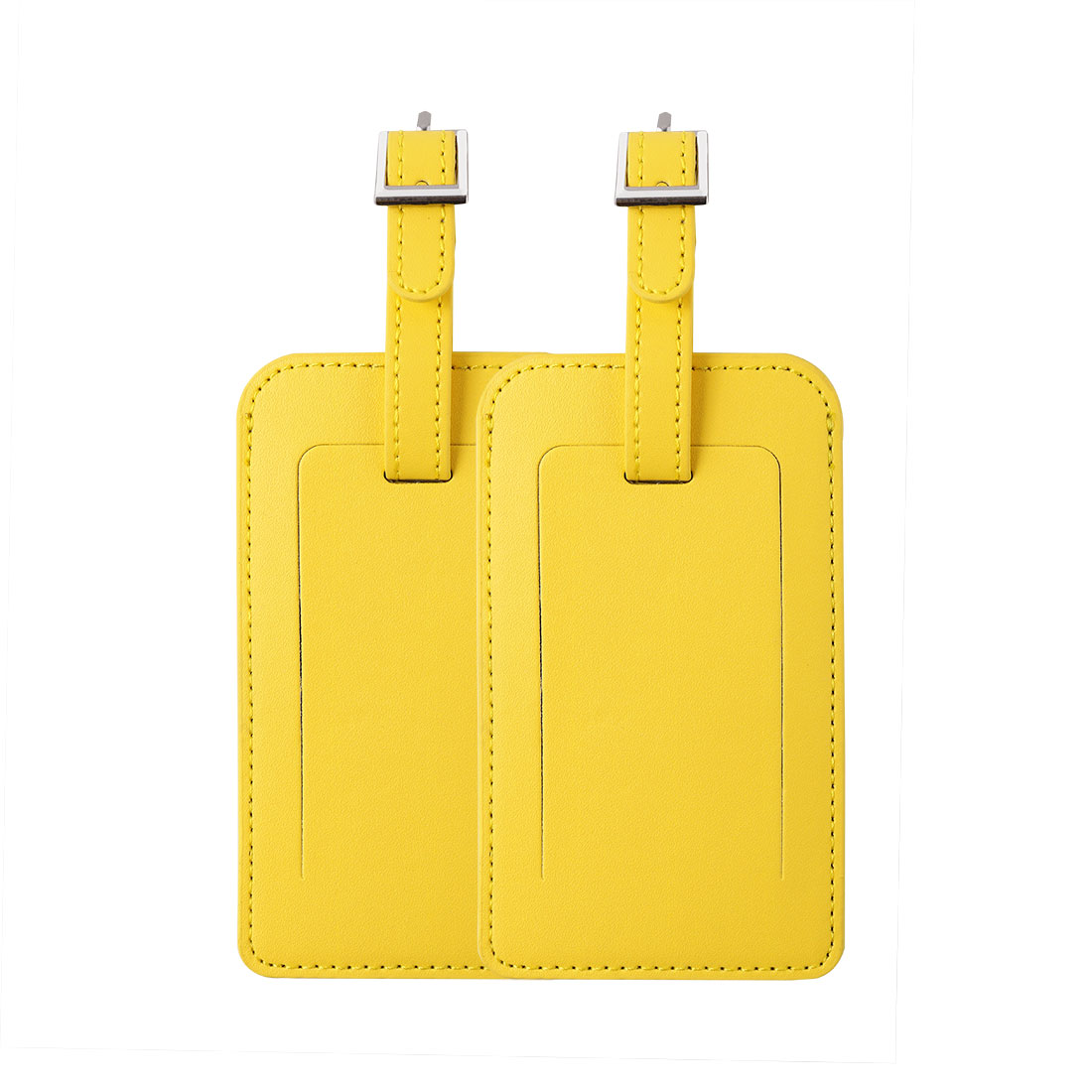 Travel PU Leather Luggage Suitcase Name Address Message Tag ID Label Yellow 2pcs
