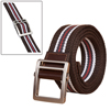 Unisex Leather Paneled Striped Slide-buckle Belt W...