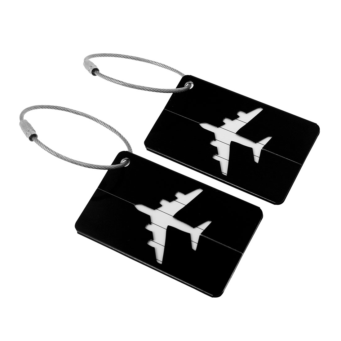 Travel Luggage Bag Tag Suitcase Baggage Office Name Address ID Labels Black 2pcs