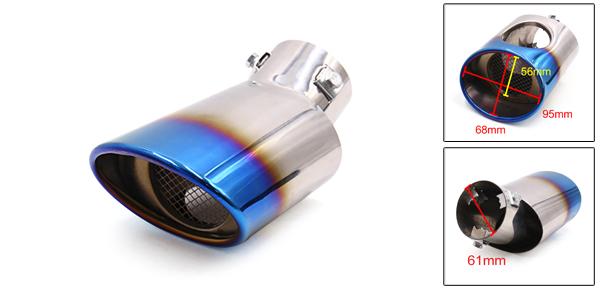 Bleu grillé entrée 61mm Dia pot Sortie Acier Inox pour voiture