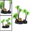 Green Plastic Coconut Tree Aquarium Betta Tank Wat...
