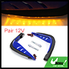 1 Pair Blue Shell Yellow LED Light Motorcycle Hand...
