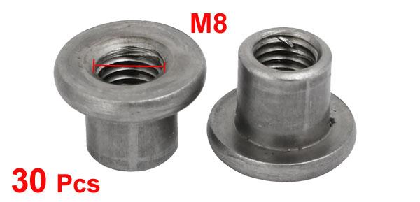 M8 Female Thread 13mm Length Round Base Through-Hole Insert Tee Nut 30pcs
