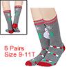 Women 6 Pack Christmas Holiday Socks Cartoon Stret...