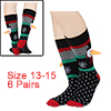 Men 6 Pack Crew Socks Christmas 13-15 Stretchy Bre...
