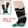 Men 6 Pack Crew Socks Christmas 13-15 Gift Set Bla...