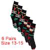 Men 6 Pack Crew Socks Christmas 13-15 Gift Set Ass...