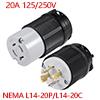 L14-20 Locking Plug And Connector Set - 20A 125V/2...