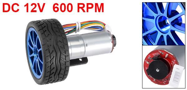1Set GM25-370 DC 12V 600RPM D Shape Shaft 6 Wire Gear Motor w Encoder and Wheel