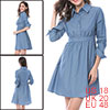 Women Polka Dot Button Up Front Chambray A-line Dr...