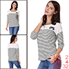 Women Color Block Paneled Piped Cat Prints Striped...