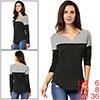 Women Split V-neck Long Sleeves Color Block T-Shir...