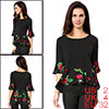 Women Boat Neck Half Bell Sleeves Floral Panel Top...