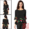 Women Boat Neck Bell Sleeves Floral Panel Top Blac...